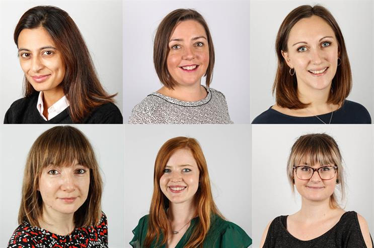 Clockwise, from bottom left: Kathryn Sparrow, Ekta Rohra, Helen Rae, Lucy Harris, Amy Turner, Chrissie Hannah