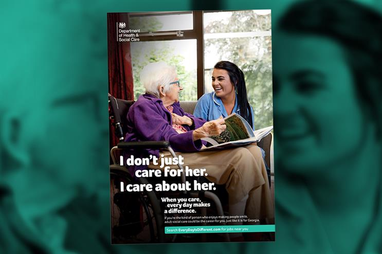One of the posters used in the DHSC's adult social care campaign