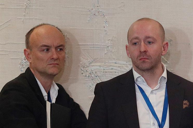 (L-R) Boris Johnson's chief advisor Dominic Cummings, and director of comms Lee Cain at the PM's press conference at last month's NATO summit (Pic credit: Adrian Dennis/POOL/AFP via Getty Images)