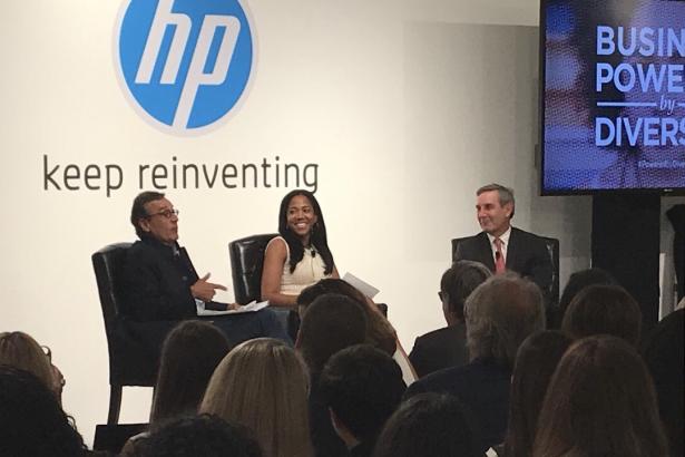 L to R: Antonio Lucio, CMO of HP; Lauren Wesley Wilson, president of ColorComm; Richard Edelman, CEO of Edelman. Photo credit: Fatima Bokhari