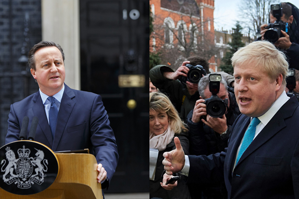In or out: Cameron vs BoJo (Credits: Tolga Akmen/Anadolu Agency/Getty Images for Cameron, NIKLAS HALLE'N/AFP/Getty Images for Johnson)