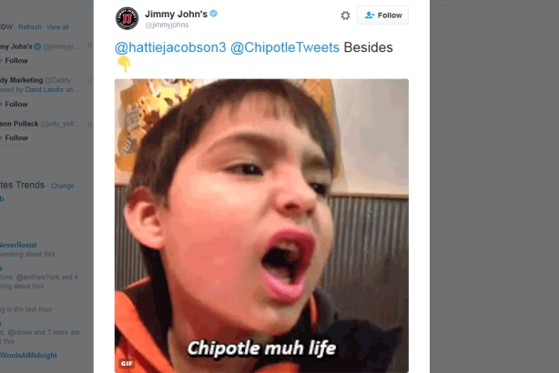 Chipotle and Jimmy John's cook up a romance on Twitter