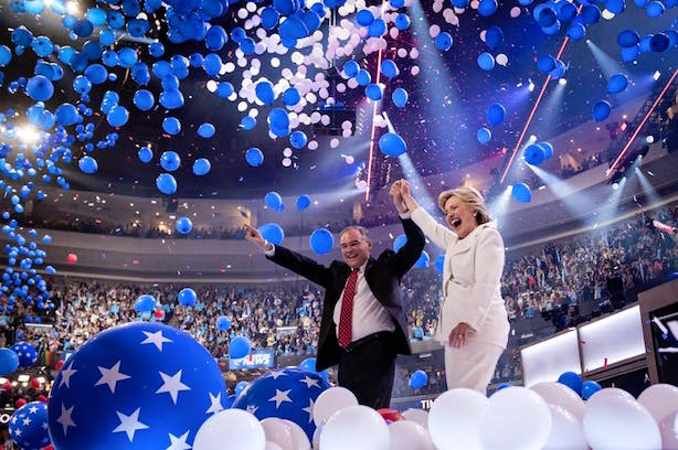 Tim Kaine and HIllary Clinton close out the Democratic National Convention. (Image via the DNC's Facebook page).