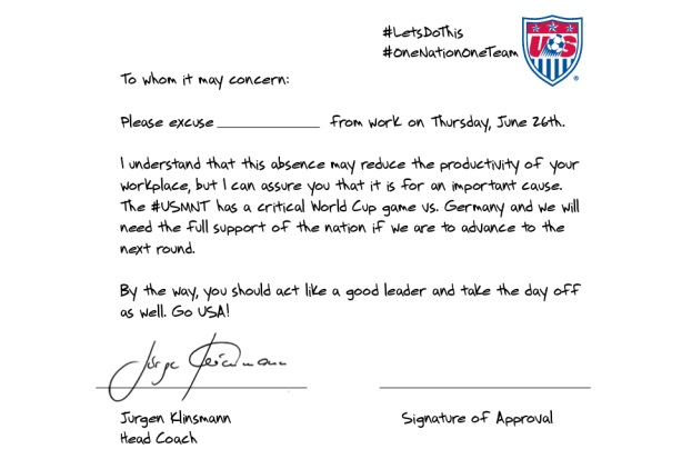 US loses to Germany, but wins Twitter with Klinsmann absentee letter