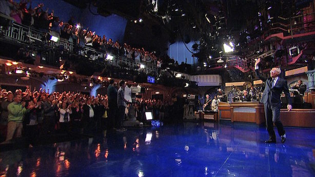David Letterman waves goodbye to the audience on Wednesday night.