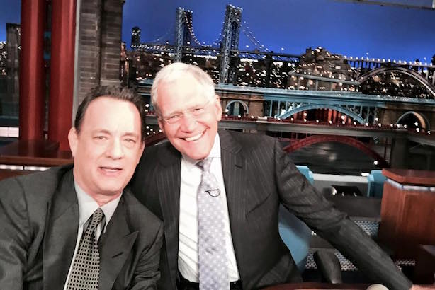 A-Listers David Letterman and Tom Hanks earlier this week. (Image via Facebook).