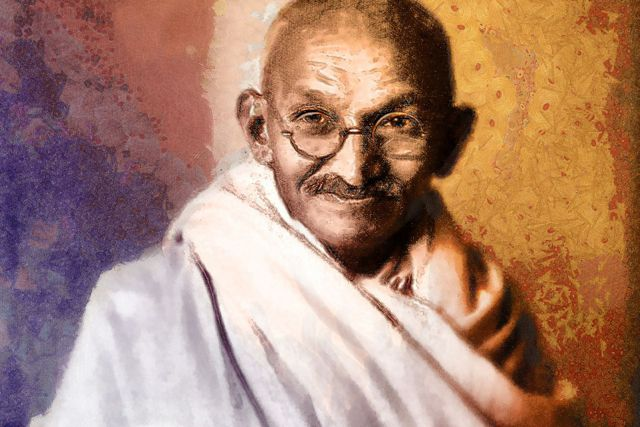 A portrait of India's independence and peace icon, Mohandas Karamchand Gandhi (hdwallpaperwala.com)