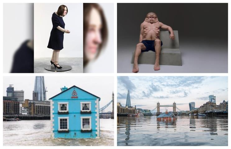 (Clockwise from top left) 'Emma' (2019), 'Meet Graham' (2016), 'Sinking House' (2019), 'Floating House' (2015)