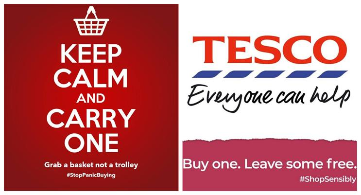 'Keep Calm and Carry One (Basket)' - creatives design anti-panic buying messages