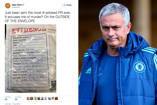 Any connection? Ill-advised PR (left) and Jose Mourinho (Mourinho picture credit: Jordan Mansfield/Getty Images)