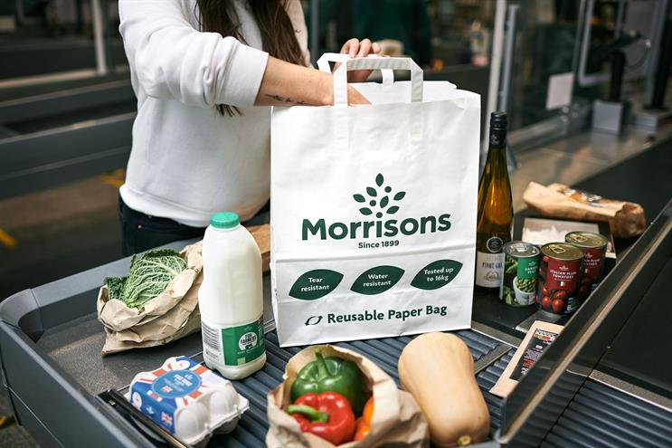 Morrisons: trialling the removal of plastic bags from its supermarkets in favour of a paper alternative