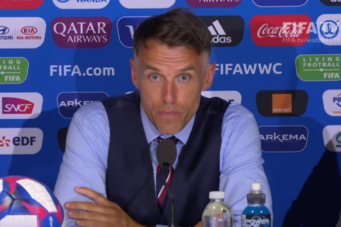 Phil Neville: Speaking at a press conference after England's victory over Cameroon