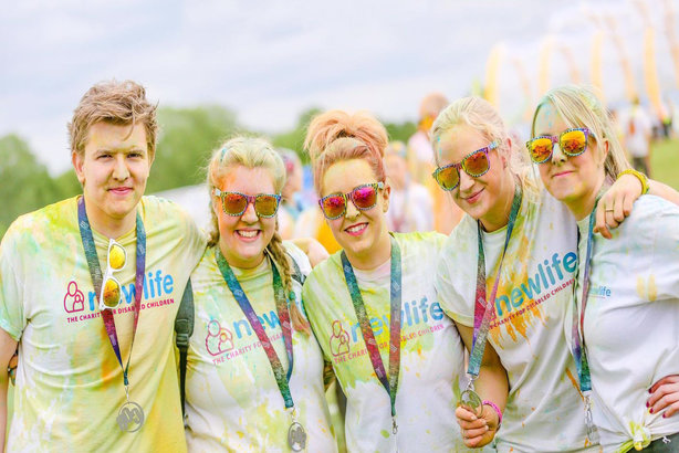 Royal Bank of Scotland staff raising money for Newlife the Charity for Disabled Children at the Colour Run, Uttoxeter, in 2018