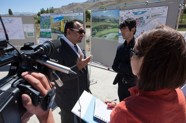 Nisar Keshvani speaking to members of the press at the site of the University of Central Asia in Kyrgystan