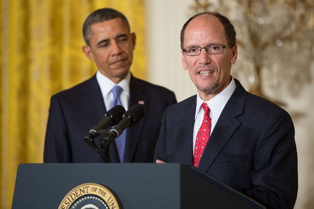 President Barack Obama and his secretary of labor, Thomas Perez. The Department of Labor recently submitted a final proposal to overhaul how overtime pay eligibility is calculated.