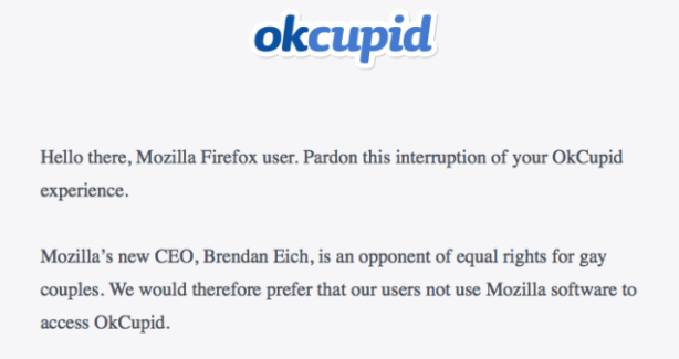 OkCupid urges Firefox boycott over CEO's position on gay marriage