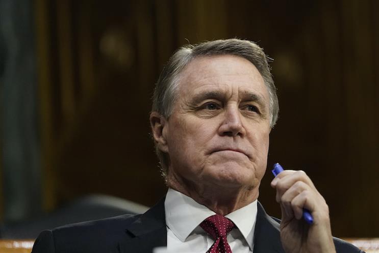 Sen. David Perdue (R-GA) at a Senate Banking Committee hearing last month. (Photo credit: Getty Images)