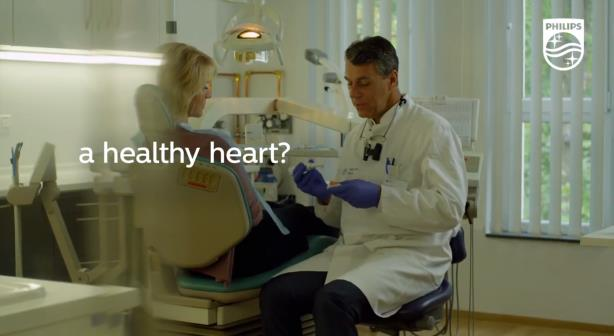 One part of a recent Philips campaign showing how its products improve dental care.