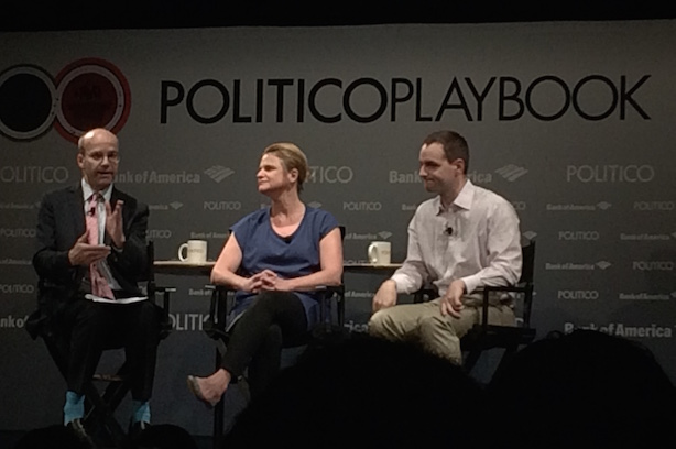 Left to right, Politico's Mike Allen, Hillary for America communications director Jennifer Palmieri and campaign manager Robby Mook