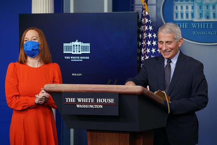 A newly ebullient Dr. Anthony Fauci briefed the media with press secretary Jen Psaki on Thursday. (Photo credit: Getty Images).
