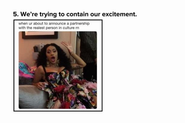 A meme press release? How Reebok found the perfect fit for Cardi B