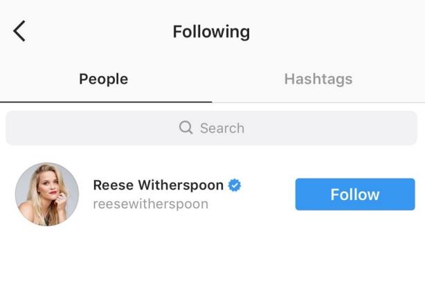 It only took 9 months for someone to notice Reese's only follows Reese Witherspoon on Instagram