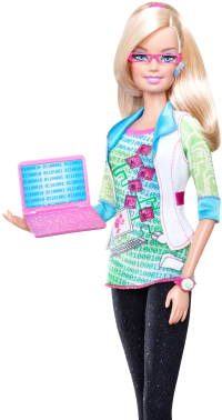 career Barbie doll holding a laptop