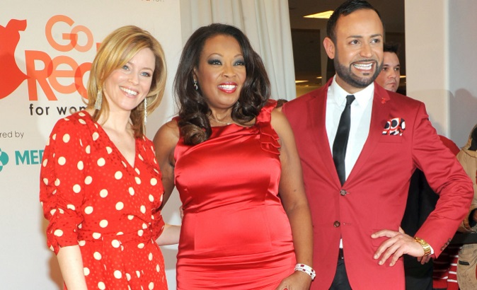 celebrities dressed in red for the Go Red campaign