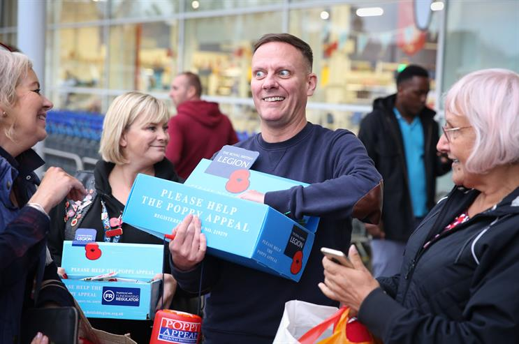 Actor and Coronation Street star Antony Cotton joining poppy collectors in Tidworth, Wiltshire