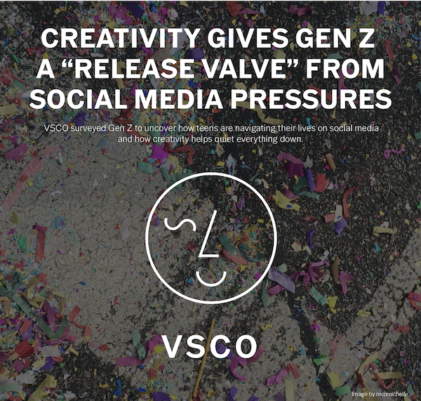 graphic with the text: creativity gives Gen Z a release valve from social media pressures