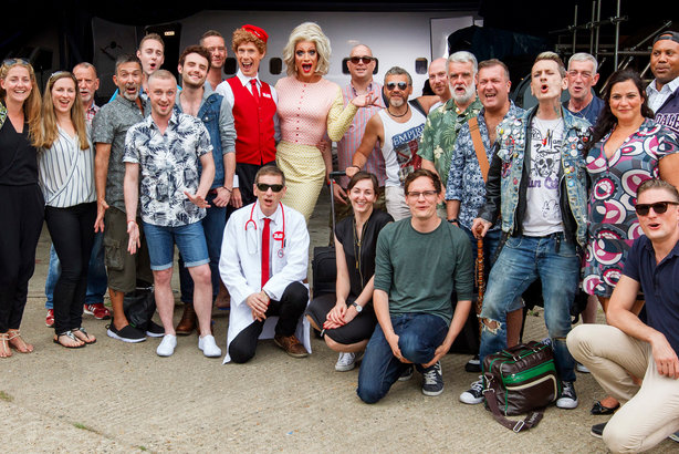 Panti Bliss, centre, with the team involved in the Flight HIV101 campaign