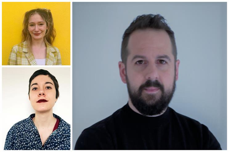New hires: Creative duo Marta Morientes (top left) and Victoria D'Andrea (bottom left) with head of growth Alex Michael (right)