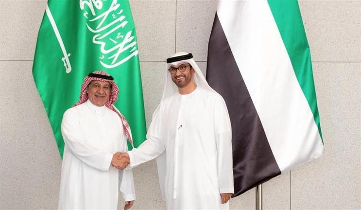 Turki Al Shabana, Saudi minister of media, with Dr Sultan Al Jaber, UAE minister of state (Credit: Wam)