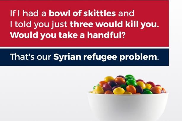 The image tweeted by Donald Trump Jr. comparing Skittles to refugees. The brand didn't take the bait.