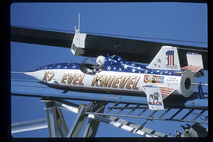 Evel Knievel's rocket on the launch pad at Snake River Canyon, September 8, 1974. Getty Images.