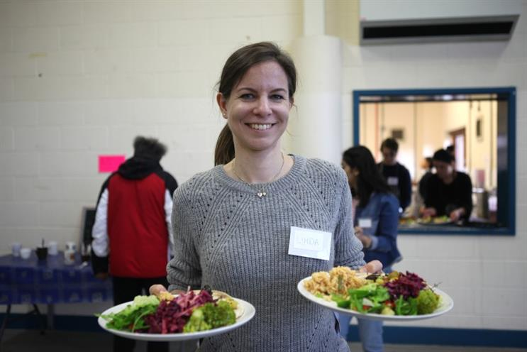 Food is served at a FoodCycle event