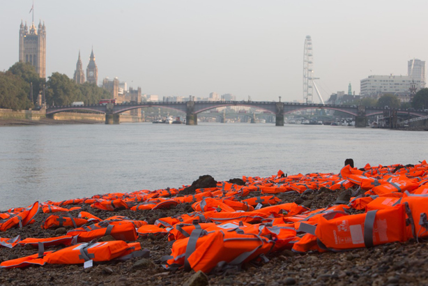ActionAid UK and Islamic Relief put life jackets by the Thames, IRC put them by parliament (Credit: David Parry/PA Wire)