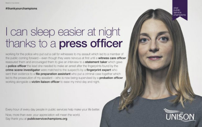 'Thank you, press officer', says Unison in campaign to celebrate public sector stars