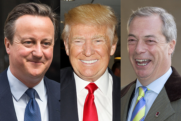 The election results in the UK and US have eluded pollsters (pic credits: Cameron: James Gourley/REX/Shutterstock, Trump: Allocca/Starpix/REX/Shutterstock, Farage: Isabel Infantes/REX/Shutterstock)