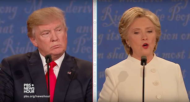 Donald Trump's statement that he may not accept the results of the November 8 election may have decisively swung the race to Clinton. (Screenshot via PBS NewsHour's YouTube account).