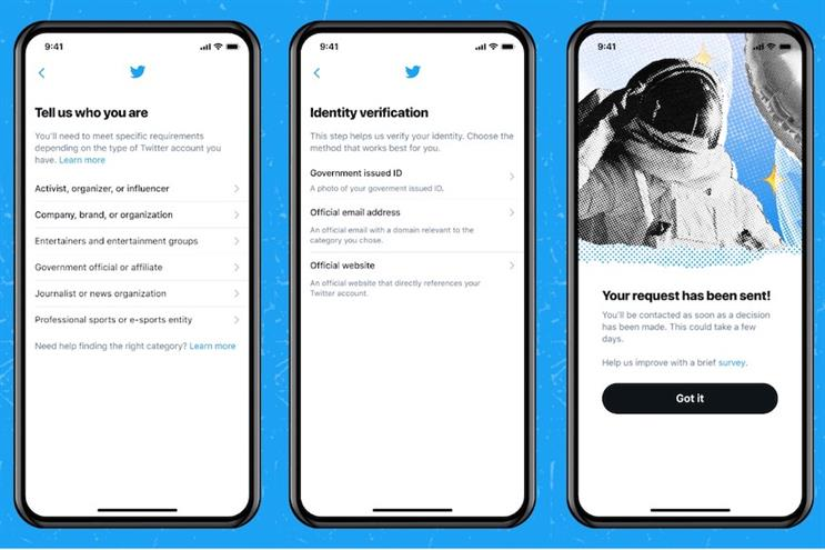 Twitter users requesting verification will see these screens.