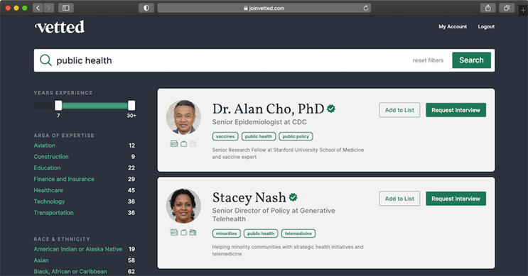 Vetted launches with expert directory for journalists