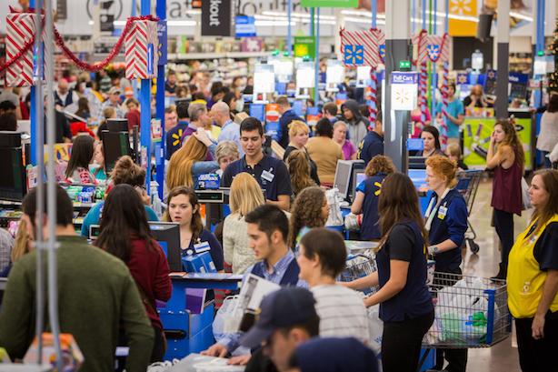 Customers at a Walmart Black Friday sale.