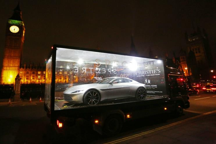 The glass displays contained the Aston Martin DB10 which featured in Spectre