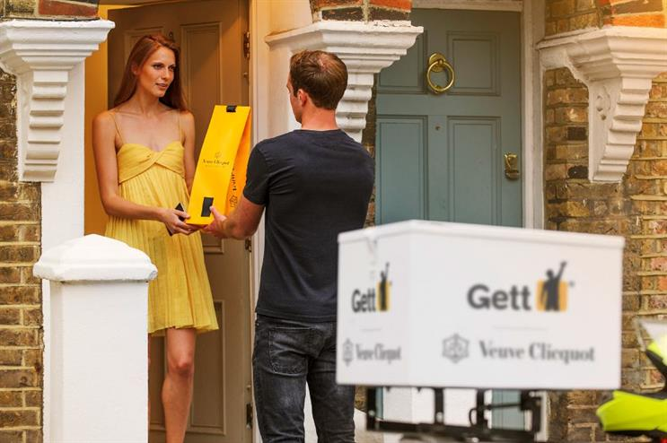 Gett will drop off bottles of Veuve within 10 minutes of processing an order
