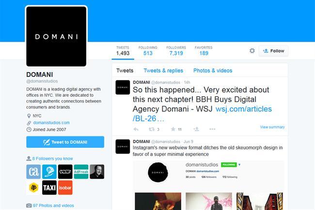 Domani announces BBH acquisition on Twitter.