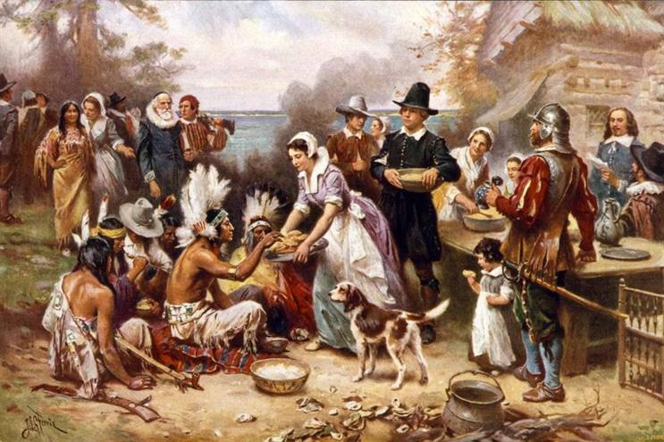 """""""The First Thanksgiving,"""" by Jean Louis Gerome Ferris (1915)."""