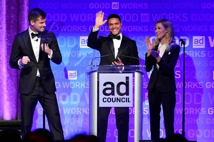 """Michael Kosta, Trevor Noah and Desi Lydic of """"The Daily Show"""""""