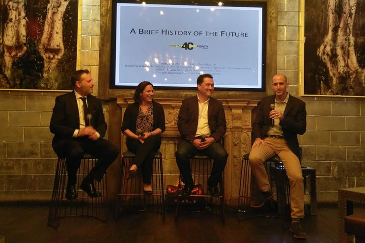 (L-R) Rob Schwartz, CEO, TBWA\Chiat\Day NY; Julie DeTraglia, Hulu; Dennis Wakabayashi, Group Director of Digital Marketing and Integration; Campaign US Editor in Chief Douglas Quenqua