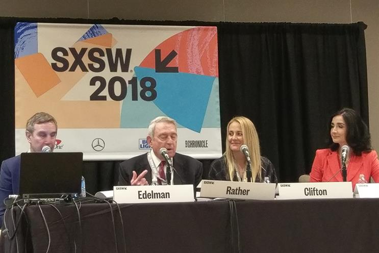 (L to R) Richard Edelman, CEO, Edelman; Dan Rather, journalist; Jessica Clifton, US head of digital, Edelman; Heather Brunner, CEO, WP Engine.